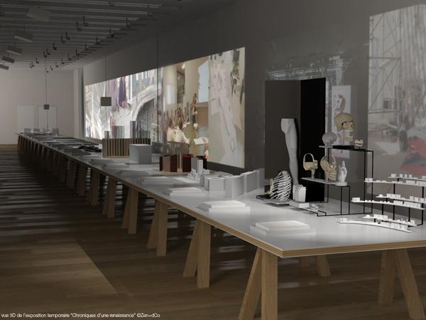 Vue 3D du plateau réservé à la muséographie dans la première salle de l'expo tempo inaugurale Chronique d'une renaissance au musée de l'Homme à Paris, 2015