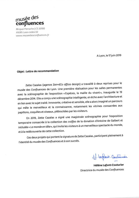 musée des Confluences, lettre de recommandation